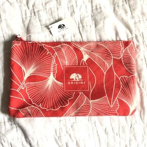 Origins | NWT Red with White Flowers Makeup Bag